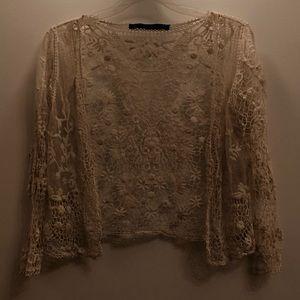 Zara Lace Detail Cardigan NWOT Medium